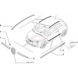 Fiat 500 met dicht dak vanaf 2007, daklijst