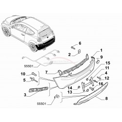 Alfa Romeo Mito 2011-2013 uitvoeringen met parkeersensoren  bumperdeel onderzijde achterzijde